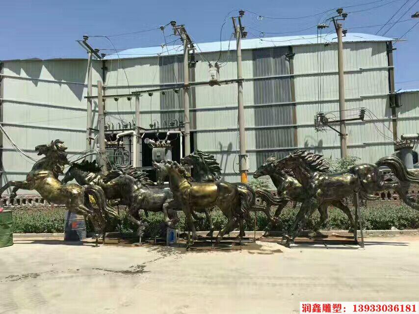 八骏马铜雕塑