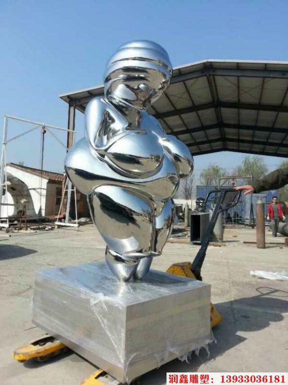 不锈钢大肚子女人雕塑